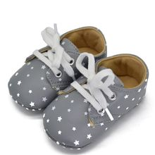 Newborn Kids Baby Shoes Star Pattern Fashion Cute Lace Up Soft Sole Sneaker Crib Shoes 0-18 M(China)