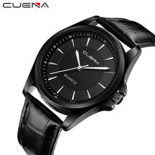 Buy CUENA Fashion Men Quartz Watch Black Genuine Leather Man Wristwatches Clocks 30M Waterproof Relogio Masculino Mens Watches 6605 for $9.49 in AliExpress store