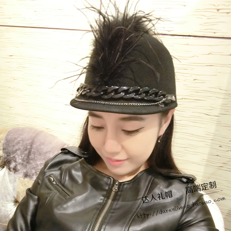 Red star network with short long feathers along the equestrian cap double chain exaggerated personality wool hats for men and wo<br>