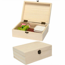 DIY Home Storage Box Natural Wooden With Lid Golden Lock Postcard Home Organizer Handmade Craft Jewelry Case 17.5*12.5*6.5cm
