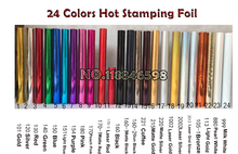 Free Shipping Cost Fee 24Colors for Choose 3cm/Roll Hot Foil Stamping Paper Heat Transfer Anodized Gilded Paper