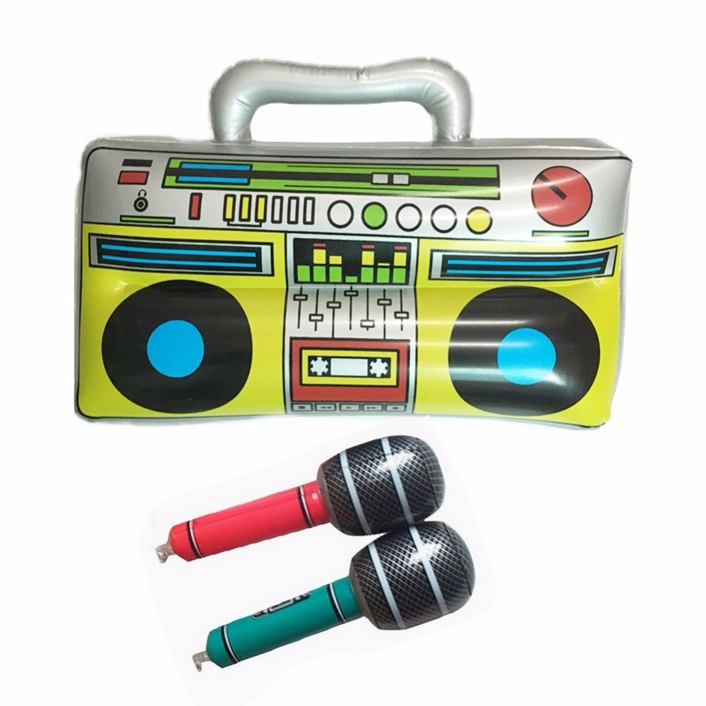 1pcs kids classic radio recorder with 2 microphones shape toys balloons for home musical party decoration pvc inflatable balloon - Kids Halloween Radio