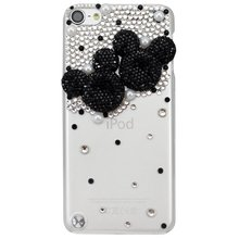 New Fashion Handmade Series Cute Bling and Pearls Crystal Mouse Head Transparent Case Cover for iPod Touch 5th Generation(China)