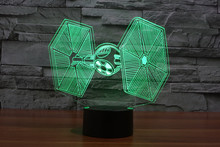 Star Wars TIE Fighter 3D LED lighting Color Changing Light Awesome Laser Engraved Light 3D Deco Lamps with touch button(China)