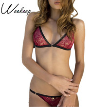 Weekeep 2017 Women Super Sexy Red Lace Bra Set Unlined Fashion Underwear Women Lingerie Bra Sets Patchwork Bra And Panties Set
