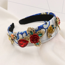 New Hot Luxury Baroque Vintage Headband Ladybug Insect Red Flower Leaf Tiara Crown Wide Hairband Bridal Hair Accessories Jewelry(China)