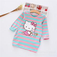 2017 Spring Autumn Baby Dress Cartoon Hello Kitty Dresses Cute Princess Stripe Cotton Dresses Fashion Kids Girls Clothes
