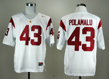 Nike Men's USC Trojans Troy Polamalu 43 White College Ice Hockey Jerseys S,M,L,XL,XXL,3XL(China)