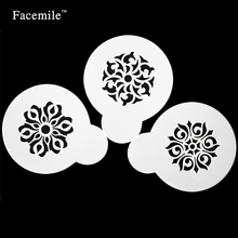 Facemile 3PCS  Flower Shape Cake  Decorating Stencils Holiday  Cookie Cupcake Coffee Decorative Stencils Kitchen DIY Tool  53017