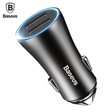 Baseus LED Car Phone Charger For iPhone Samsung Xiaomi Tablet PC Mobile Phone Charger For Car Charger Adapter 2 USB Car-Charger(China)