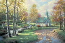 The Aspen Chapel Thomas Kinkade HD Canvas Print Living Room Bedroom Wall Pictures Art Painting Home Decoration No Frame(China)