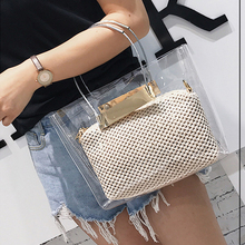 Luxury Brand Designer Composite Bag Women Chain Straw Bag Ladies Transparent Handbag Female Messenger Bags Jelly Bags Beach Girl(China)
