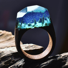2017 Resin Secret Wood Rings For Women Magic Forest Wooden Ring Men Jewelry Fashion Deep Blue Rectangle Gift