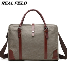 "Real Field Laptop Bag Vintage Crossbody Bag Canvas Shoulder Bags Men Messenger Bag Tote Briefcase Handbag Fit 15.6"" Laptop 256"