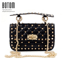 Botom Latest Quality Genuine Leather Women Stud Hand Bag Rock Roll Stylish Lady Chain Shoulder Bags Girl Dating Messenger Bag(China)