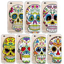 Unique Floral Sugar Skull Pattern Skin Protector Cell phone Case for iphone 6 6S 4.7 inch Soft Plastic Fundas Back Cover