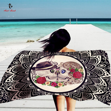Ariel Sarah Brand 2017 Skullcandy Beach Cover Ups Cool Beach Mat Swimsuit Cover Up Square Bikini Cover Up PJ023(China)