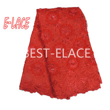 High Quality African Lace Fabric Net 2017 French Lace Fabric Tulle With pearl Gold Nigerian Lace Fabric For Wedding XY538B  59d