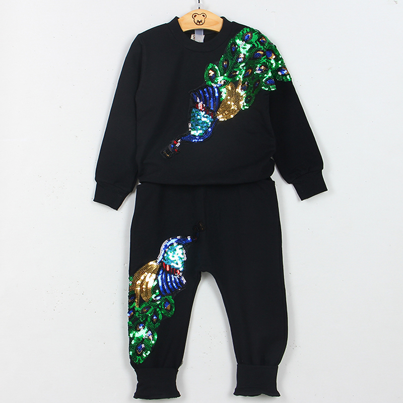 New Item Baby Girls Autumn &amp; Spring Fashion Design Peacock Embroidery Clothing Set Long Sleeve Top+Full Length Pants Suit 3-7Y<br><br>Aliexpress