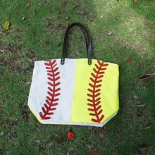 Wholesale Blanks Canvas Softball Joint Patchwork Tote Bag with Faux Leather Handles Sp Bag DOM103281