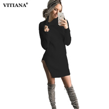 2017 Autumn Women Black Knitted Dress Long Sleeve High Neck Split Sexy Sweater Mini Party Dresses Winter Female Bodycon Clothing(China)
