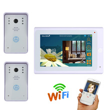 720P 2 X 1000TVL IR-CUT HD Wired Camera with 7 TFT Wireless Wifi IP Video Door Phone Doorbell Intercom System(China)