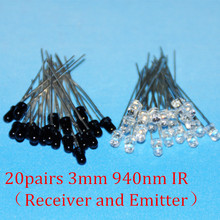 20IR LED 940nm 3mm LEDs Infrared 940 nm IR Emissor Infravermelho Emitter Receiver Diode 20pairs Diodes Ricevitore Emettitore