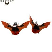 BITFLY 3pcs/pack Halloween decorations accessories props three-dimensional spherical bats spider hanging pendant Paper lantern(China)