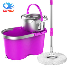 KOYIDA Portable Magic spin Mop bucket double-drive hand pressure rotating spin Mop head stainless household floor cleaning