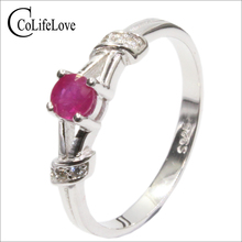 100% natural ruby ring for engagement 4 mm genuine ruby gemstone ring solid 925 silver ruby ring romantic Valentine's day gift(China)