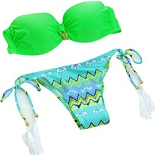 Metallic Chain Green bandage Top Swimwear Women Bikinis Sexy Swimsuit bikini set Biquini BeachWear Bathing Suit bikiny swim suit(China)