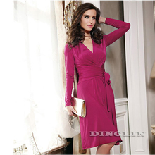 GZDL Sexy Women's Deep V Plunge Long Sleeve Autumn Winter Dress Wrap Belt Bodycon Stretch Party Pleated Dresses Vestidos CL1232