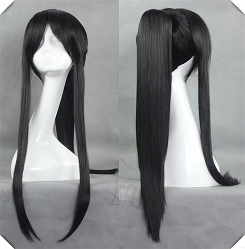 Natural Black Synthetic 80cm Long Straight Wig Cosplay Cartoon Costume Hair<br><br>Aliexpress