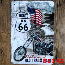 route us 66 Printing Metal Wall Sticker Europe Design Tin Sign Iron Antique Tin Painting Pub DECOR 20X30CM(China)