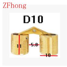 4PCS 10mm Copper Barrel Hinges Cylindrical Hidden Door Cabinet Concealed Invisible Brass Hinges Mount Furniture Hardware
