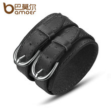 BAMOER Fashion Double Belt Leather Wrist Friendship Big Wide Bracelet for Men Buckle Vintage Punk Jewelry PI0268(China)