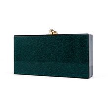 China Factory Supplier Small Green Glitter Ladies Bridal Acryli Holder Box Makeup Case Acrylic Box Clutches Evening bags(China)