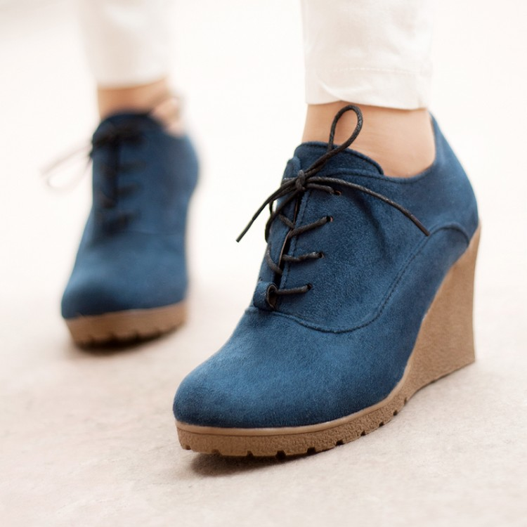 2015 autumn boots fashion all-match fashion lacing scrub surface womens wedge boots shoes<br><br>Aliexpress