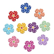 50Pcs/lot Mixed Color flower shaped Button 2 Holes Printing Wooden Buttons Scrapbooking Sewing Accessories Knopf 19*19mm(China)
