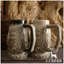 """Fishing Country Club"" The funny Souvenirs Germany Beer Ceramic Mug It Has special Thick Strokes Embossed Patterrn"
