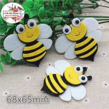 6.8CM 5pcs Non-woven patches bee two-double Felt Appliques for clothes Sewing Supplies diy craft ornament