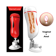 MizzZee Vagina Anal Double Tunnels Masturbation Cup Sex Toys For Men Pocket Pussy Male Masturbators With Suction Cup Sex Product(China)