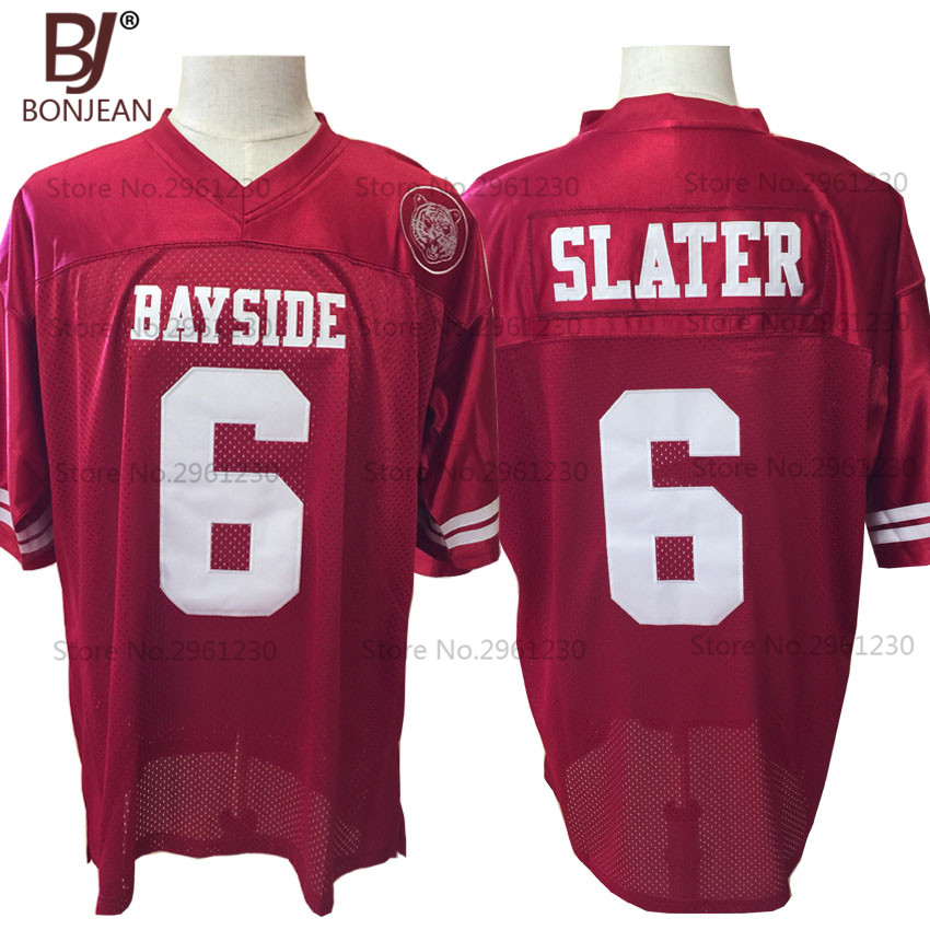 BONJEAN Cheap AC Slater 6 Bayside Tigers High School American Football Jersey Maroon Saved By The Bell Includes Sewn Tiger Patch(China (Mainland))