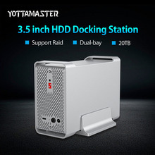 Yottamaster High-end Dual-bay 3.5 inch HDD Docking Station Box USB3.1 Gen2 10Gbps External HDD Enclosure Case Support RAID 20TB(China)