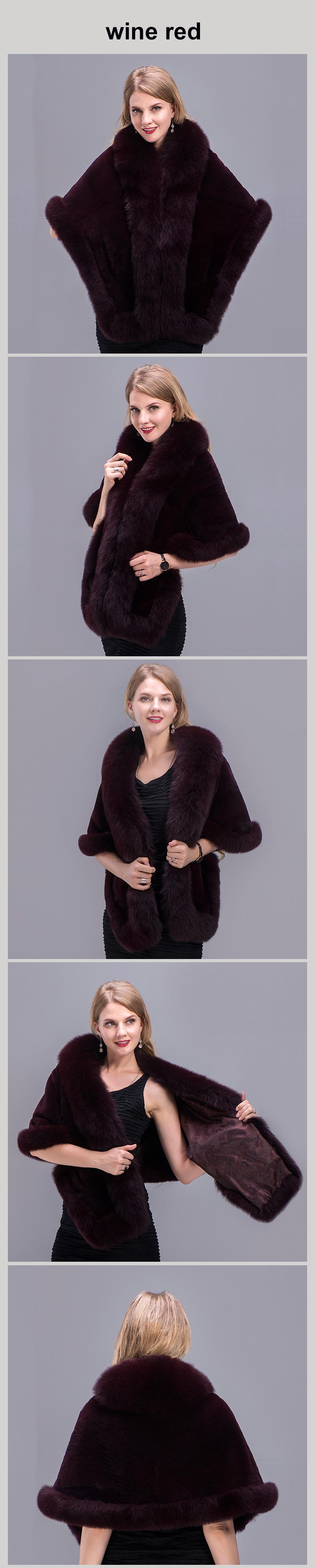 real fur shawl wine red 00