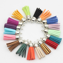 Silver Color Cap 100pcs 38mm Classical Leather Tassels for Jewelry DIY Keychain Cellphone Straps Pendant Charm(China)