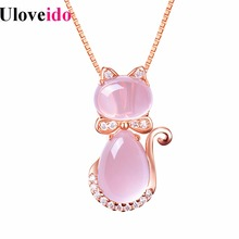 Buy Uloveido Necklaces & Pendants Women's Rose Gold Color Cat Necklace Women Pendant Valentines Day Gift Charms Jewelry Gifts DN167 for $2.64 in AliExpress store