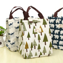 Creative Thickened Lunch Bag Cartoon Insulation Bags Waterproof Tree Whale Print Handbag Lunch Boxes for Students Office Ladies