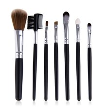 Professional 7 Makeup Brush + Brush Roll Case Set Beauty Tools For Face And Eye Women Makeup Cosmetic Brush Set2(China)