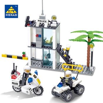 Centro de mando de la policía kazi building blocks juguetes brinquedos educativos juguetes para niños diy ladrillos bloques de construcción de conjuntos